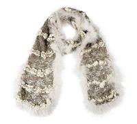 venda del pañuelo blanco al por mayor-Bruceriver para mujer Ganchillo hecho a mano Hilos de gran barriga con bufanda larga de plumas de avestruz