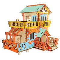 3d bulmaca ahşap ev toptan satış-Yeni Meclisi DIY Eğitim Oyuncak 3D Ahşap Ülke Ülke Kır Evi Evi Bulmacalar