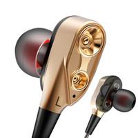 música mp3 al por mayor-Doble bobina móvil audífonos con cable audífonos en la oreja Deportes juegos de música MP3 3.5mm, auriculares universales para teléfonos Android para ipone 5 6 6S 7 7S