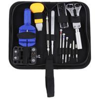 ingrosso casi di utensili-13pcs Orologiai Tool Set Kit Guarda apri della cassa di collegamento della barra della molla di rimozione cacciavite pinzette Orologiaio dispositivo dedicato