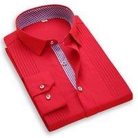 vestido de casamento vermelho arco branco venda por atacado-Luxo Sólidos do casamento dos homens de manga comprida de cor camisas do smoking roupas de festa Formal Branco Red Fashion Dress camisa do homem com arco
