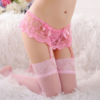 Wholesale women suspender belt sexy resale online - Brand Stockings Set New Women Sexy Lace Socks Solid Thin Sexy Suspender G String Garter Belt Pink Lingerie Bowknot