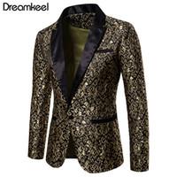 zarif uydurma gelinlik toptan satış-Slim Fit Blazer Erkekler 2019 Yeni Varış Erkek Çiçek Blazers Çiçek Balo Elbise Blazers Zarif Düğün Blazer ve Suit Ceket Erkekler Y