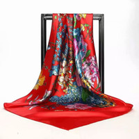 dikiş kumaş malzemesi toptan satış-90 * 90 cm Dut Ipek Kumaş Yumuşak Eşarp Elbise Dikiş malzemeleri Için ipek kumaş baskılı JHG037