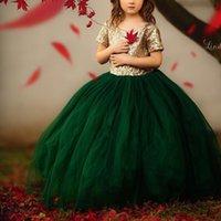 ingrosso vestito da partito dei bambini verde-Girl's Pageant Dresses Forset Green 2019 Toddler Rose Gold Paillettes Corpetto Bambini Ball Gown Glitz Flower Girl Dress Wedding Party Compleanno