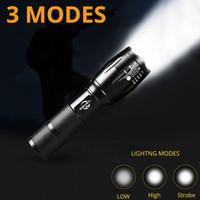 banco de energía de luz intermitente al por mayor-Linterna LED recargable USB 10000 lumen antorcha eléctrica Linternas de modo Banco de energía Zoomable Lámpara de luz de flash Iluminación con cable USB