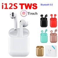 bluetooth verbindung iphone großhandel-I12S TWS Mini Neueste Bluetooth 5,0 Starke Verbindung Kopfhörer Sport Sweatproof Wireless Touch Ohrhörer Binaural anruf Kopfhörer