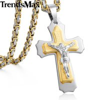 Wholesale jesus gold necklace choker for sale - Group buy Trendsmax Jesus Cross Pendant Necklace For Men Gold Silver Stainless Steel Byzantine Box Chain Necklace Men Jewelry Gift KPM141