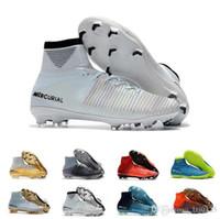 tacos de fútbol originales ronaldo al por mayor-Nike Nuevos Hombres / Mujeres / Niños Fútbol Original Mercurial Superfly V TF / IC / FG Zapatos de fútbol Diseñador Ronaldo Plata CR7 FG Zapatos de fútbol