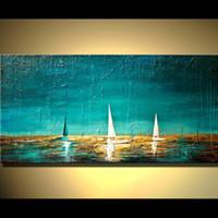 abstrakte ozean ölgemälde großhandel-Handgefertigte abstrakte Bilder schwere strukturierte Farbe auf Leinwand Boote im Ozean Meer handgemalt einzigartige Wandkunst Meerblick Ölgemälde