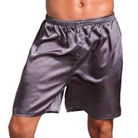 rote seidenroben männer großhandel-2018 Sexy Männer Silk Satin Pyjama Shorts Homewear Nachtwäsche Herren Lose Weiche Boxer Unterwäsche Männliche Unterhose Nachtwäsche Einfarbig
