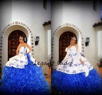 ingrosso vestido regale debutante-Bianco Royal Blue Ricamo Abiti Quinceanera 2019 Sweetheart Abito da Ballo Lungo Abito Debuttante Vestido de 15 nos Abito Quinceanera Messicano