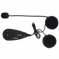 auriculares de intercomunicación walkie talkie al por mayor-Hot Bluetooth Interphone Casco de la motocicleta BT Intercom Stereo Radio FM Auriculares 5 jinetes 1200 m Walkie Talkie F4439A