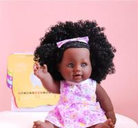 muñecas de hombres negros al por mayor-2019 Muñeca Africana 12 pulgadas Simulación Juguetes de Vinilo de Silicona Muñeca Hombres Negro Muñeca lol recién nacido de silicona regalo de cumpleaños renacer