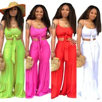 ensembles de gilet de pantalon achat en gros de-Pantalon large tailleur costumes Summer beachwear 2 pieces ensemble