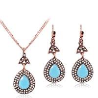or pakistanais achat en gros de-Vintage collier en or rose résine strass femmes boucles d'oreilles en deux pièces Egypte indien pakistanais bijoux ensemble