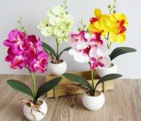 ingrosso bonsai di seta-Mini Artificiale Farfalla Orchidea Bonsai FAI DA TE Artificiale Farfalla Orchidea Seta Bouquet di Fiori Bonsai Phalaenopsis Decorazione Della Casa di Nozze