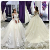 Wholesale new white ivory lace wedding dress for sale - Sheer Long Sleeves Lace Appliques A Line Wedding Dresses New Fashion Bridal Gowns Formal Custom Robe de Mariee Cheap