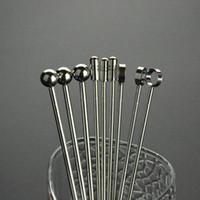 bbq sarf malzemeleri toptan satış-Çevre Dostu Paslanmaz Çelik Martini Bbq Şiş 11cm Metal Kokteyl Karıştırıcı muddler Parti Bar Barbekü Izgara Araçlar Malzemeleri İçki Seçtikleri