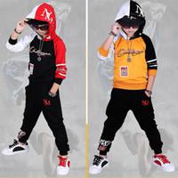 sonbahar giysileri hip hop toptan satış-2018 Güz Hip Hop Kostüm Çocuk giyim Seti Kıyafet Boys uzun Kollu Spor Takım Elbise Çocuklar Hoodies + Pantolon 2 Adet Set Eşofman