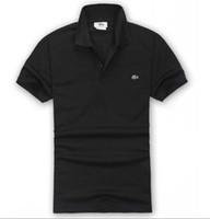 ingrosso camicie maschili disegni-LACOSTE Hot Saldi Shirt Design maschile Estate Turn-Down colletto maniche corte in cotone Camicia Uomo Top