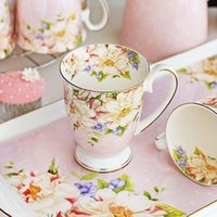 Wholesale china tea cups resale online - 300ML bone china ceramic coffee mug tazas cafe floral painting present creative ceramic tea cup vintage tea ceremony Y200107