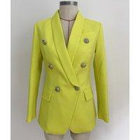 casacos de negócios amarelos das mulheres venda por atacado-Alta qualidade amarelo branco preto vermelho blazer jaqueta mulher casaco cabeça de leão fivela de metal terno breasted dupla jaquetas de festa de negócios blazers