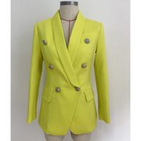 ingrosso giacche gialle di donne-giacche di blazer da uomo d'affari di alta qualità giacca gialla blazer giacca cappotto testa di leone in metallo nero giallo bianco di alta qualità