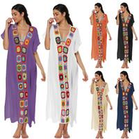 couvrir robe fleur achat en gros de-Robe d'été Boho Femmes Loose V-Neck Survêtements Robes Travail Manuel Crochet Floral Fleur Plage Combinaison Maillots De Bain Bikini Cover Up C3213