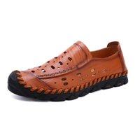 männer lederschuhe loch groihandel-Herren Driving Schuhe 2019 Männer Leder Loafers Schuhe arbeiten handgemachten Männer Breathluftloch Mokassins