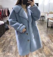 weißer wintermantel für damen großhandel-2019 meistverkaufte Damen blau / weiß / rot shearling Winteroberbekleidung Mäntel Revers Hals x-Länge Damenbekleidung