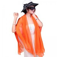 Wholesale chiffon scarves online - Outdoor Sunscreen Scarf Women Chiffon Soft Scarves Solid Beach Towel Ladies Long Wrap Shawl Summer Beach Magic Scarves GGA1638
