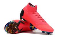 tacos de fútbol rosa al por mayor-Venta caliente Hombre / Mujer / Niños Botas de fútbol CR7 Rosa Mercurial Superfly VI 360 Elite FG Zapatos de fútbol Zapatillas de deporte de fútbol Zapatillas