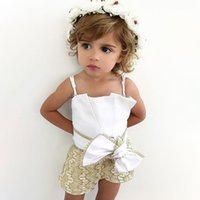 Wholesale baby leotards newborn for sale - Group buy Summer Newborn Cute Baby Girl Sling Cotton Sleeveless Bow knot Jumpsuit Leotard Jumpsuit Set Fashion Sun Suit Y