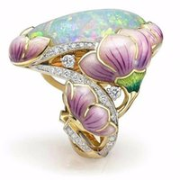 Wholesale enamel flower rings resale online - Enamel Opal colored Rings Pop Flower Party Ring Valentine s Day Gift For Girls Women Jewelry