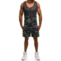 Wholesale summer track suits men for sale - Group buy Mens Tracksuit Sleeveless Vest Shorts Jogging Camouflage Summer Casual Piece Short Set Urban Wind Track Suits