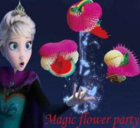 sihirli numaralar çiçekler toptan satış-Sihirli Kağıt Çekme Çiçek Garland Kağıt çiçekler Sihirli Hileler Sahne Oyuncaklar Sahne Komedi Bebek Çocuk Eğitim Hediye Parti Favor için