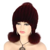 sombrero de punto de piel de visón al por mayor-Womens Winter Super Warm Hat Punto Mink Sombreros de piel reales Moda suave Beanie Fox Pom Pom Brim
