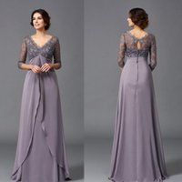 Wholesale lilac beach wedding dresses for sale - Group buy Modest Elegant A Line V Neck Beach Mother of the Bridal Dresses Sleeve Lace Long Wedding Guest Dresses
