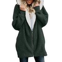 Wholesale ladies long army jacket for sale - Group buy Autumn Winter Women Hoodies Casual Solid Fluffy Zipper Hoodie Hooded Jacket Loose Warm Ladies Coat Outerwear Plus Size XL