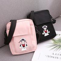 Wholesale cute phone pouches online – custom Cute Braid Girl Printing Women Messenger Crossbody Shoulder Bag High Quality Waterproof Outdoor Pouch Small Phone Cards Keys Bag