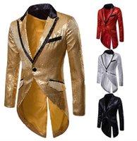 erkekler ceketler satışı toptan satış-Sıcak Satış Altın Kırmızı payetli Damat tailcoat Slim Fit Düğün Gecesi Club Bar Sahne Düğün Ziyafet Blazer Parti Moda Erkek Takım Elbise Ucuz Takımları