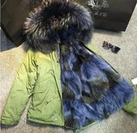 casaco de pele verde marinho venda por atacado-ponta azul pele de guaxinim aparar Meifeng mulheres marca neve casacos azul marinho do exército forro de pele do chacal mini-parkas Green USA