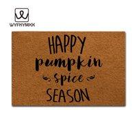 счастливые полы оптовых-Смешные передние крытые кухонные коврики нескользящие Happy Pumpkin Spice Season тканые открытый дизайн ковра наружные входные коврики