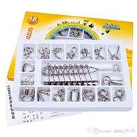 casse-tête en métal achat en gros de-18 PCS / Ensemble IQ Metal Wire Puzzle Esprit Casse-tête Casse-tête magique pour adultes, enfants, anneau chinois classique jouets éducatifs