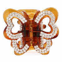 Wholesale brown hair clamp resale online - Elegant Butterfly Hair Claw Crab Middle Hair Clips for Ladies Crystals Brown Barrettes Women Accessories Clamps FZ357