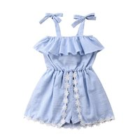 Wholesale baby girl ruffle skirt dress online - Baby Girls Elasticity Tunic Dress Children Flat Shoulder Ruffle Skirt Princess Sleeveless Lace Bowknot Romper Jumpsuit Pantskirt A52202