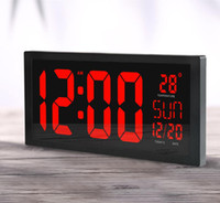 Wholesale screen color squares resale online - HD LED Large Screen Wall Clock Home Desktop Calendar Clock Daylight Saving Time Function LED Electronic Clock with Thermometer