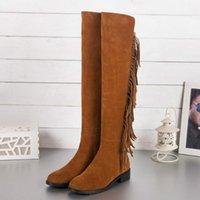 botas de borla de color canela al por mayor-Venta-u463 caliente 34/40 cuero genuino de alta del muslo botas planas negro gris marrón marrón marrón borla sobre las rodillas