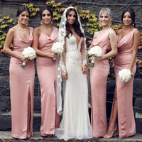 Wholesale simple sheath prom dresses resale online - V Neck Simple Sheath Long Bridesmaids Dresses Sexy Backless Split Side Spring Vestidos De Honor Of Maid Cheap Bridesmaids Prom Gowns